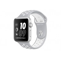 Apple Watch Nike+ 42 мм, корпус из серебристого алюминия, спортивный ремешок Nike цвета «листовое серебро/белый» MNNT2