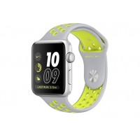 Apple Watch Nike+ 42 мм, корпус из серебристого алюминия, спортивный ремешок Nike цвета «листовое серебро/салатовый» MNYQ2