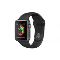 Apple Watch Series 1, 38 мм, корпус из алюминия цвета «серый космос», спортивный ремешок чёрного цвета MP022