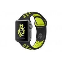 Apple Watch Nike+ 38 мм, корпус из алюминия цвета «серый космос», спортивный ремешок Nike цвета «чёрный/салатовый» MP082