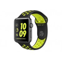 Apple Watch Nike+ 42 мм, корпус из алюминия цвета «серый космос», спортивный ремешок Nike цвета «чёрный/салатовый» MP0A2