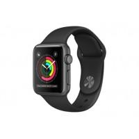 Apple Watch Series 2, 38 мм, корпус из алюминия цвета «серый космос», спортивный ремешок чёрного цвета MP0D2