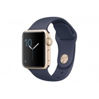 Apple Watch Series 1, 38 мм, корпус из золотистого алюминия, спортивный ремешок тёмно‑синего цвета MQ102