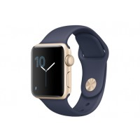Apple Watch Series 2, 38 мм, корпус из золотистого алюминия, спортивный ремешок тёмно‑синего цвета MQ132