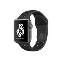 Apple Watch Nike+ 38 мм, корпус из алюминия цвета «серый космос», спортивный ремешок Nike цвета «антрацитовый/чёрный» MQ162