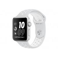 Apple Watch Nike+ 42 мм, корпус из серебристого алюминия, спортивный ремешок Nike цвета «чистая платина/белый» MQ192
